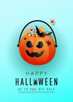 Cartel vertical de la historia de terror de halloween con cara de calabaza naranja aterradora, caramelos de colores, murciélagos sobre un fondo azul.
