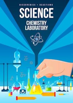 Cartel vertical de laboratorio de química.