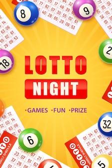 Cartel vertical realista de la noche de lotería