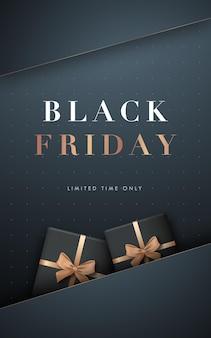 Cartel vertical de venta de viernes negro con cajas de regalo.
