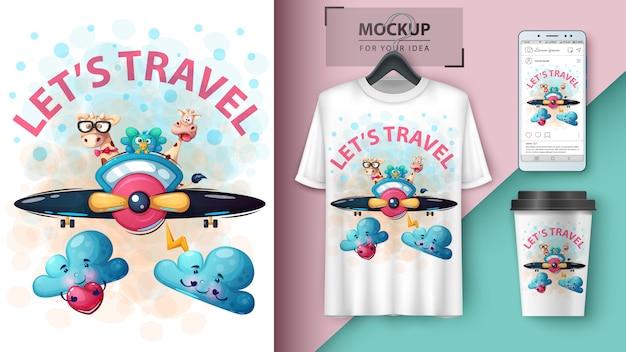 Cartel de viaje de animales de dibujos animados y merchandising