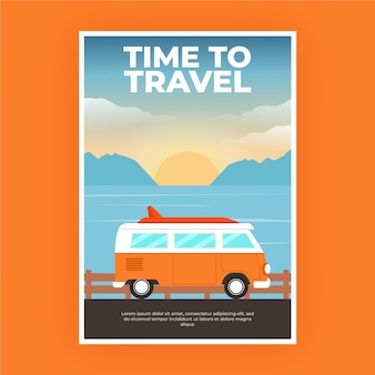 Cartel de viaje con autocaravana