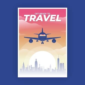 Cartel de viaje con avión al atardecer