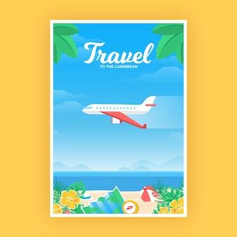 Cartel de viaje con avión sobre la playa