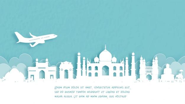 Cartel de viaje con bienvenida a agra, india