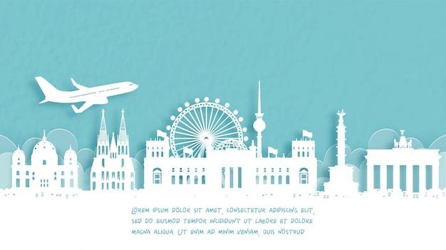 Cartel de viaje con bienvenida a berlín, alemania.