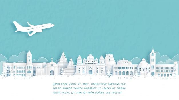 Cartel de viaje con bienvenido a chennai, hito famoso de india en ilustración de estilo de corte de papel.