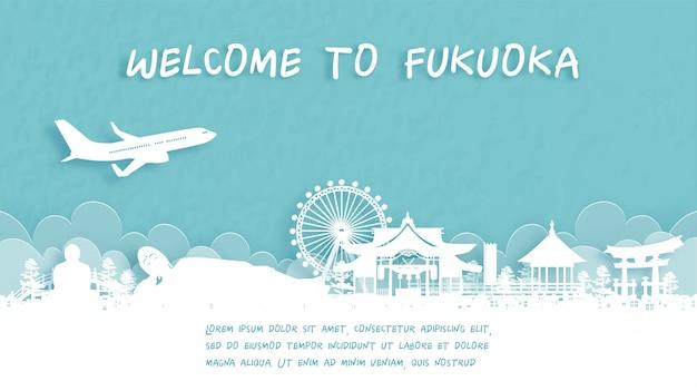 Cartel de viaje con bienvenido a fukuoka, japón