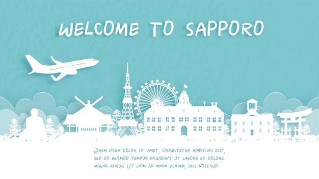 Cartel de viaje con bienvenido a sapporo, japón
