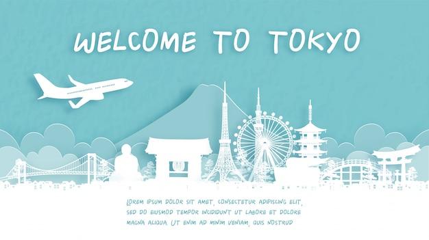 Cartel de viaje con bienvenido a tokio, japón