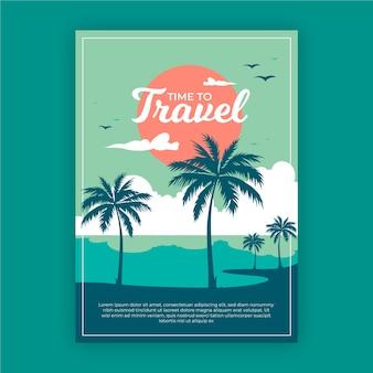 Cartel de viaje de diseño ilustrado