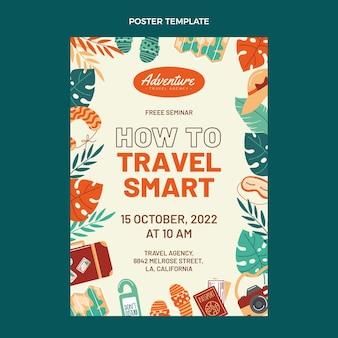 Cartel de viaje de diseño plano