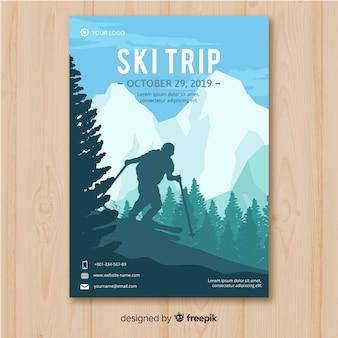 Cartel de viaje de esquí