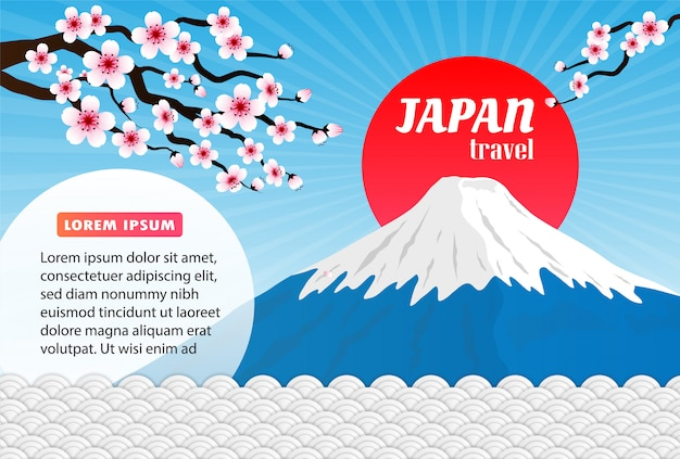 Cartel de viaje histórico de japón, fondo de montaña rosa sakura y fuji.