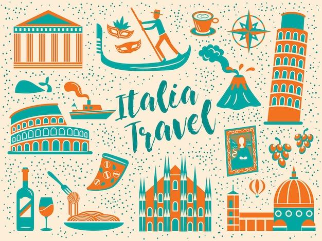 Cartel de viaje de italia de dibujos animados con signos de atracciones famosas y cocina
