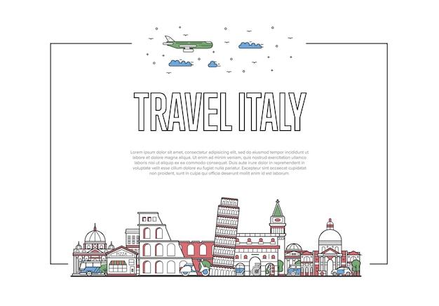 Cartel de viaje a italia en estilo lineal