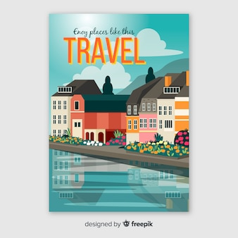 Cartel de viaje de lugares de disfrute
