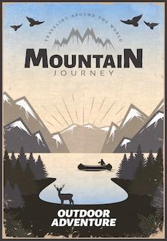 Cartel de viaje de montaña