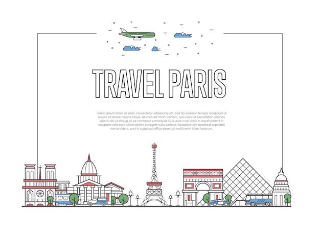 Cartel de viaje a parís en estilo lineal
