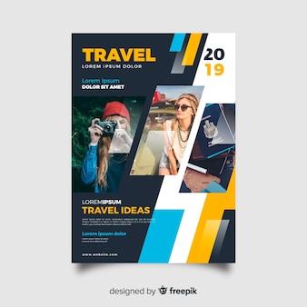 Cartel de viaje de plantilla con foto