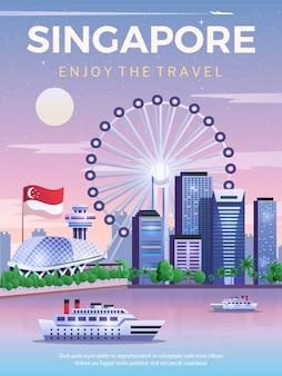 Cartel de viaje de singapur