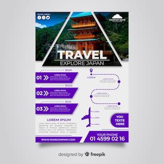 Cartel de viaje con templo japonés