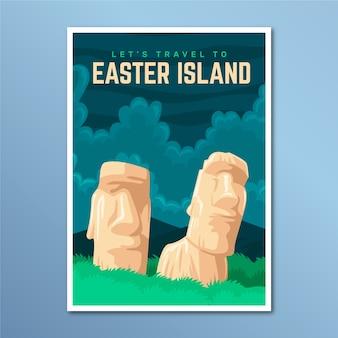 Cartel de viaje de vacaciones de isla de pascua