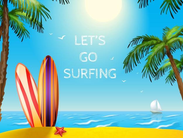 Cartel de viaje de verano fondo de tablas de surf