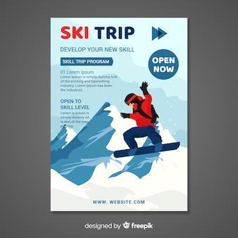 Cartel de viajes en esquí