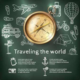 Cartel de viajes mundial con brújula