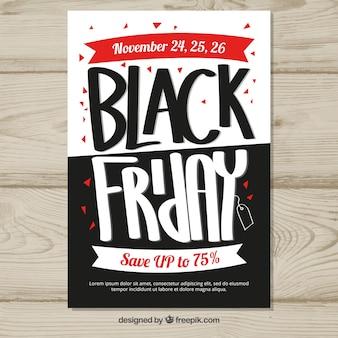 Cartel de viernes negro en blanco y negro