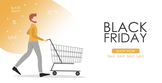 Cartel de viernes negro con carrito de compras y hombre.