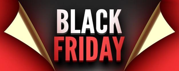 Cartel del viernes negro cinta roja con bordes curvos