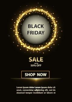 Cartel de viernes negro con círculo brillante y texto de promoción