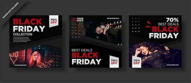 Cartel de viernes negro y conjunto de publicaciones en redes sociales.