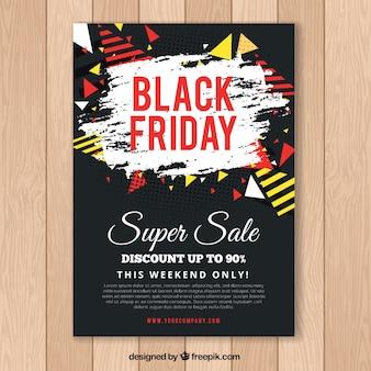 Cartel de viernes negro con elementos geométricos