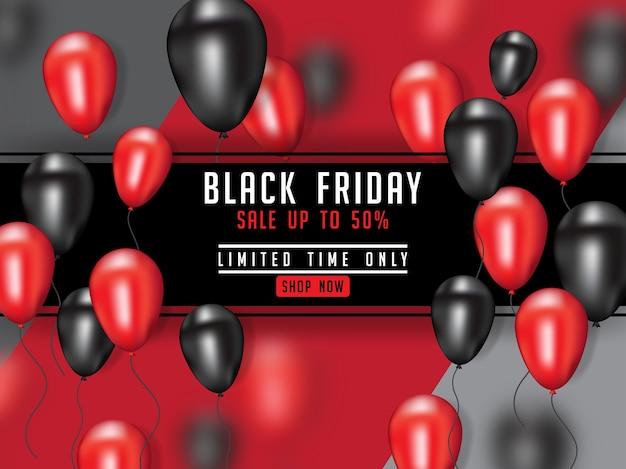 Cartel de viernes negro con globo 3d realista