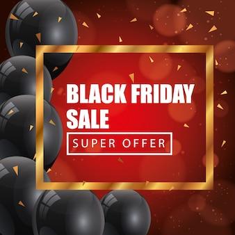 Cartel de viernes negro con letras de super oferta