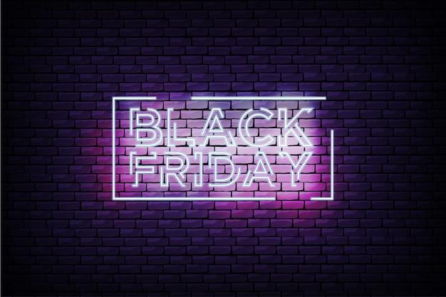 Cartel de viernes negro moderno con marco de neón