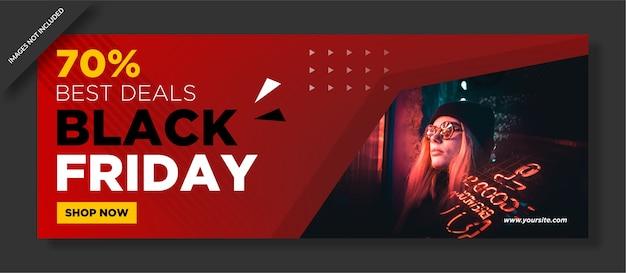 Cartel de viernes negro y publicación en redes sociales.