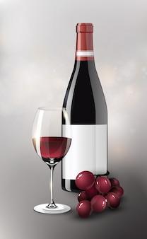 Cartel de vino tinto realista