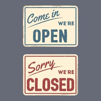 Cartel vintage abierto y cerrado