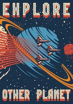 Cartel vintage colorido de investigación espacial