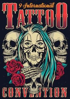 Cartel vintage colorido tatuaje fest