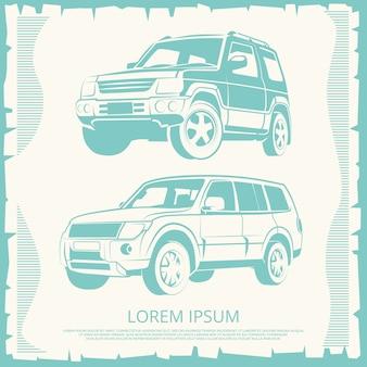 Cartel vintage con diseño de coches jeep