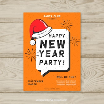Cartel vintage de feliz año nuevo con gorro de santa claus