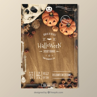 Cartel vintage de fiesta ae halloween
