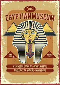 Cartel vintage de un faraón y pirámides