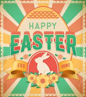 Cartel vintage de feliz búsqueda de huevos de pascua