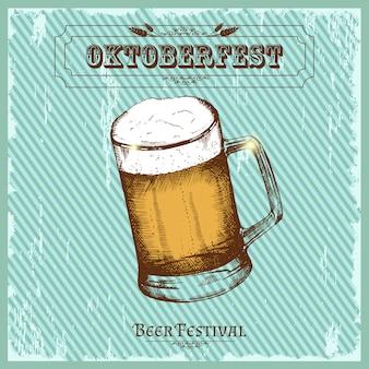 Cartel vintage para festival de cerveza. bosquejo del oktoberfest, dibujo a mano alzada.